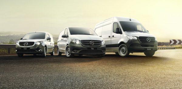 Mercedes Vans lined up