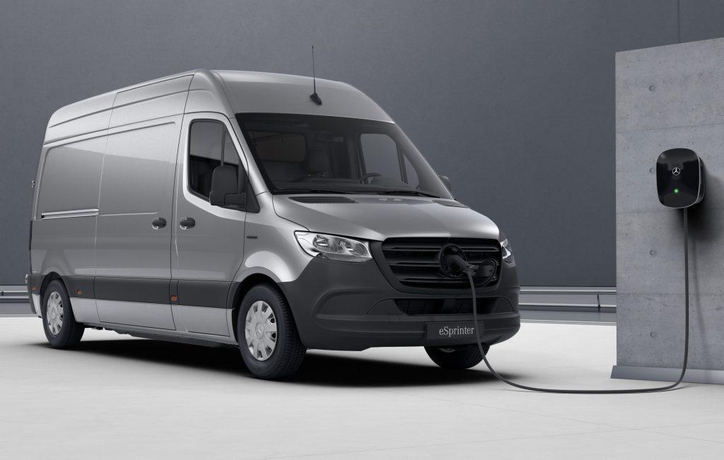 The all-electric Mercedes eSprinter van charging