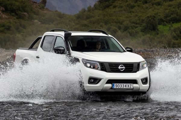 The Nissan Navara AT32 wading a river
