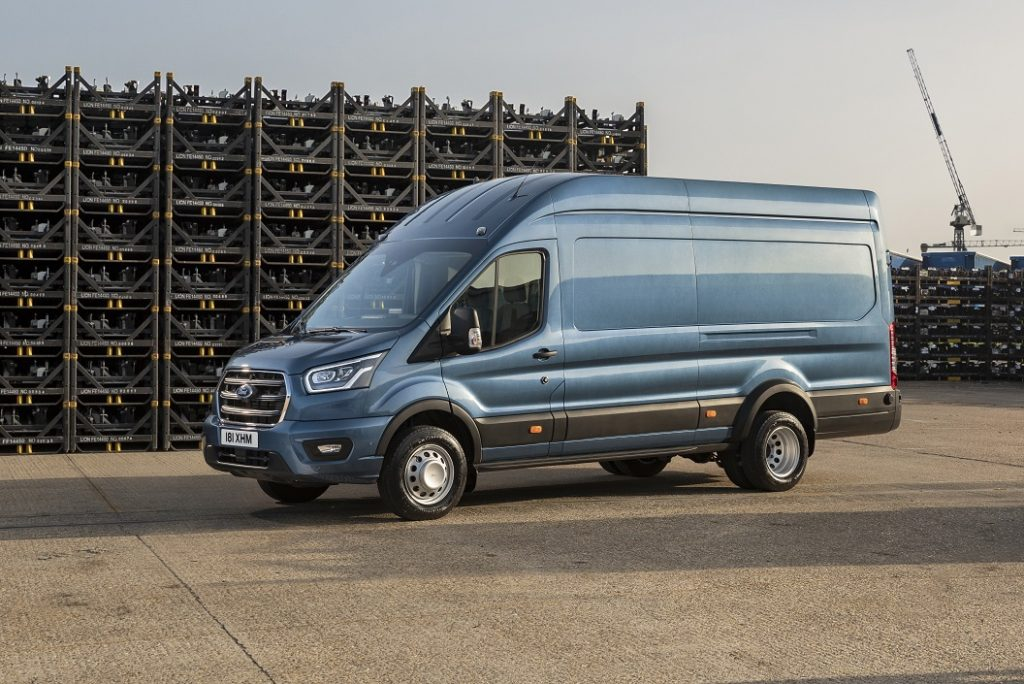 The new Ford Transit 5.0T van in a yard